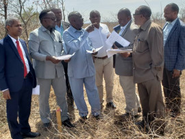 The Ministierial Advisory Board of the Ministry of Health, Community Development, Gender, Elderly and Children for TMDA inspecting plots planned for TMDA Laboratory and offices in Dodoma